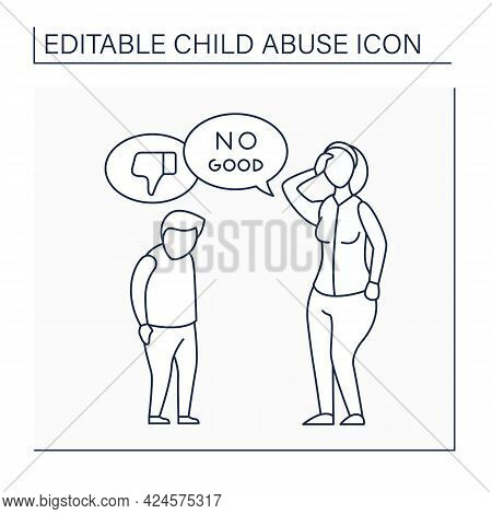 Criticism Line Icon. Humiliation With Words.shaming, Bullying. Serious Emotional Harm. Child Abuse C