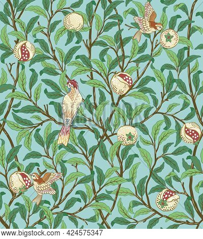 Vintage Birds In Foliage With Birds And Fruits Seamless Pattern On Light Green Background. Middle Ag