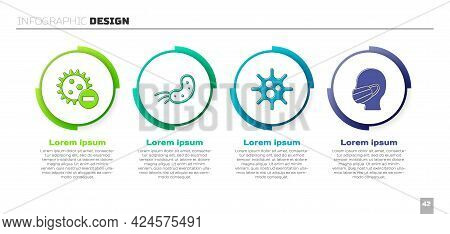 Set Negative Virus, Virus, Virus And Face In A Medical Protective Mask. Business Infographic Templat