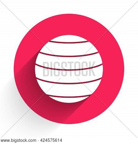 White Planet Venus Icon Isolated With Long Shadow. Red Circle Button. Vector