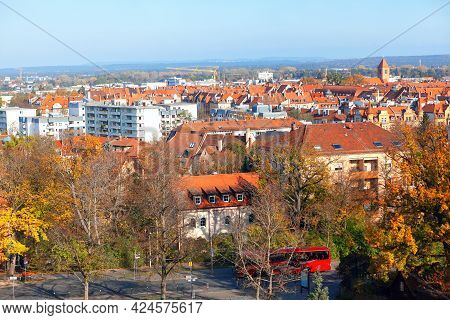 Nuremberg Residential District Panorama . City Houses Roofs And Attics . Tiled Roofs Scenery