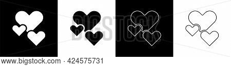Set Heart Icon Isolated On Black And White Background. Romantic Symbol Linked, Join, Passion And Wed