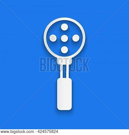 Paper Cut Spatula Icon Isolated On Blue Background. Kitchen Spatula Icon. Bbq Spatula Sign. Barbecue