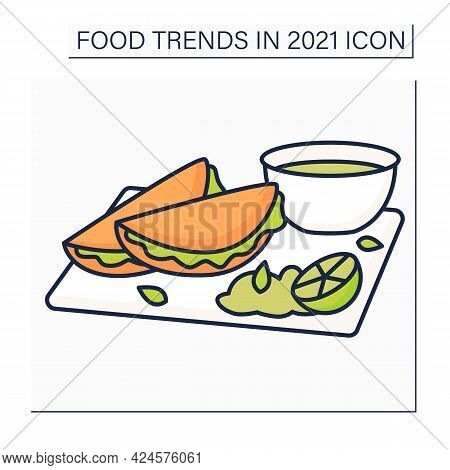 Quesabirria Color Icon. Mexican Dish. Tacos Made With Tender And Flavorful Birria Beef.food Trends C