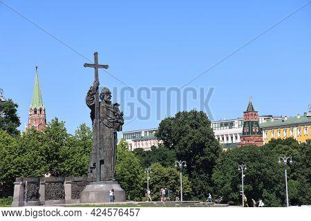 Monument To Saint Prince Vladimir Svyatoslavich, Baptist Of Russia, Moscow, June, 2021