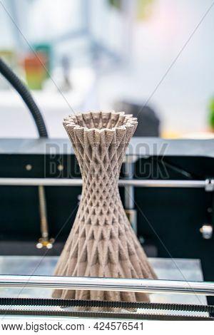 vase closeup object printed 3d printer close-up. Progressive modern additive technology 4.0 industrial revolution