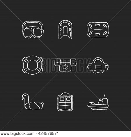 Swimming Lessons Chalk White Icons Set On Dark Background. Flotation Aid. Ring Buoy. Puddle Jumper.