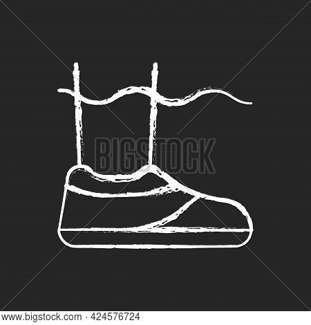 Water Shoes Chalk White Icon On Dark Background. Walking In Wet, Rocky Environments. Protecting Feet