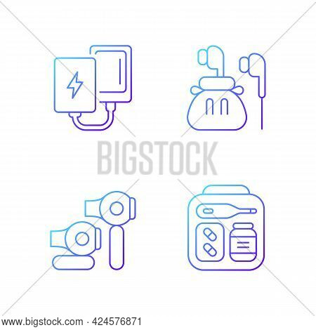Traveller Luggage Gradient Linear Vector Icons Set. Compact Powerbank And Headphones. First Aid Kit.