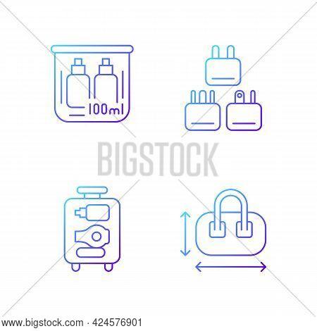Portable Travel Essentials Gradient Linear Vector Icons Set. Compact Bag. Traveller Plugs. Open Suit