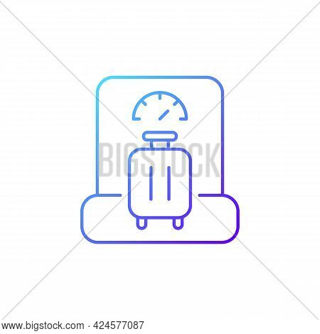 Baggage Weight Gradient Linear Vector Icon. Luggage Weighing In Airport. Traveller Suitcase Check. T