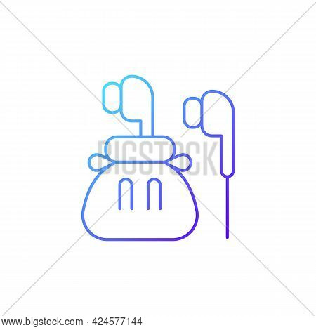 Headphones Gradient Linear Vector Icon. Compact Bag With Earphones For Trip Convenience. Portable Am
