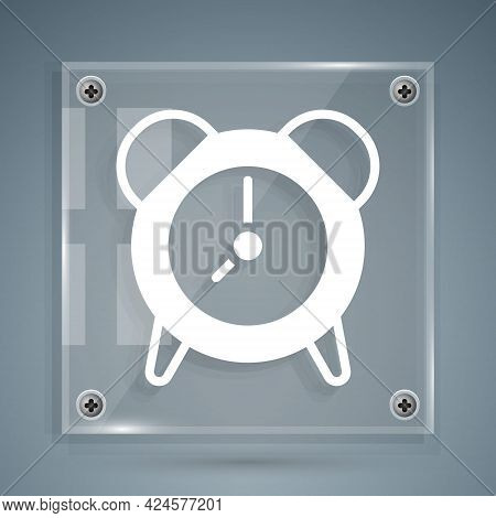 White Alarm Clock Icon Isolated On Grey Background. Wake Up, Get Up Concept. Time Sign. Square Glass