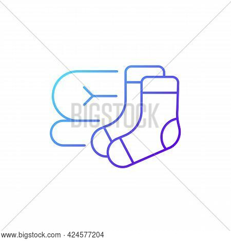 Socks And Blanket Gradient Linear Vector Icon. Portable Amenities For Camping Comfort. Travel Size O