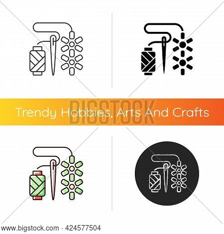 Beadwork Icon. Attaching Beads With Sewing Needle. Fabric Decoration. Jewelry Hobby. Ornamental Work