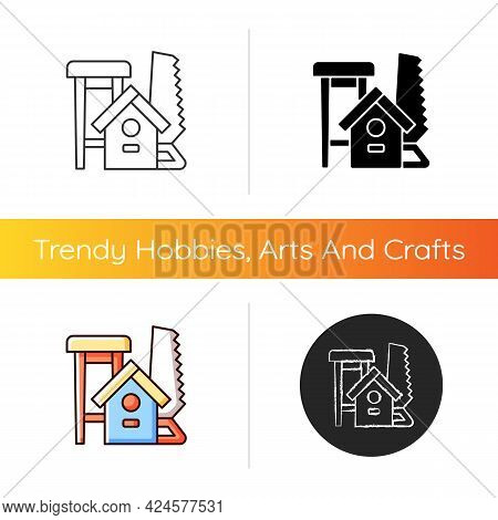 Woodworking Icon. Wood Carving. Handcrafted Furniture-making. Handmade Wooden Chairs, Tables. Buildi