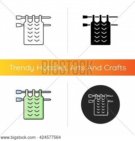 Knitting Icon. Crochet. Hand Knitting Yarns. Handmade Jumper, Scarf, Blanket. Patchwork. Using Croch