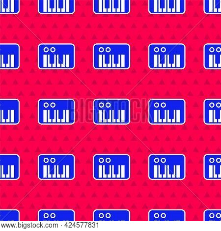 Blue Music Synthesizer Icon Isolated Seamless Pattern On Red Background. Electronic Piano. Vector