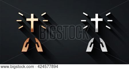 Gold And Silver Hands In Praying Position Icon Isolated On Black Background. Prayer To God With Fait