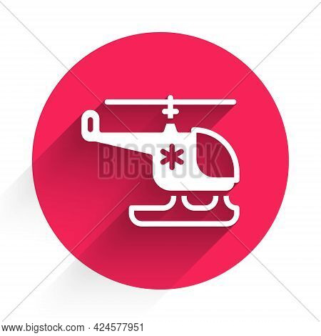 White Rescue Helicopter Icon Isolated With Long Shadow. Ambulance Helicopter. Red Circle Button. Vec