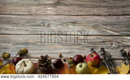 Still Life Fall Autumn Stripe With Fall Leaves, A Flat Lay With Copy Space On A Wooden Background, F