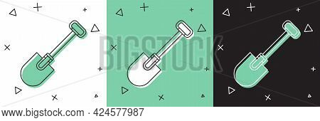 Set Shovel Icon Isolated On White And Green, Black Background. Gardening Tool. Tool For Horticulture