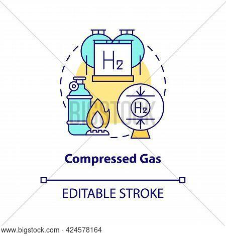 Compressed Gas Concept Icon. Hydrogen Storage Type Abstract Idea Thin Line Illustration. High-pressu