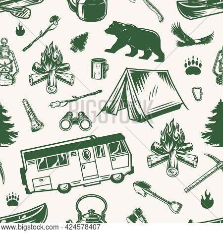 Camping Vintage Monochrome Seamless Pattern With Motorhome Bear Eagle Tent Bonfire Fir Tree Lantern