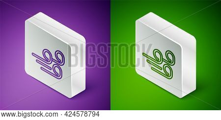 Isometric Line Windy Weather Icon Isolated On Purple And Green Background. Cloud And Wind. Silver Sq