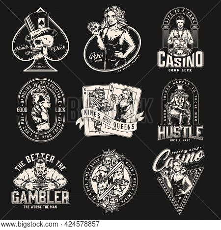 Gambling Monochrome Designs Collection With Casino Poker Game Gambler And Playing Cards Labels And E