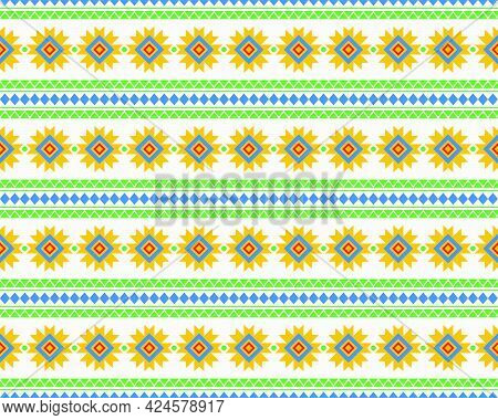 Geometric Ethnic Seamless Pattern Elements Collection Design In Bright And Beautiful Colors. Can Use