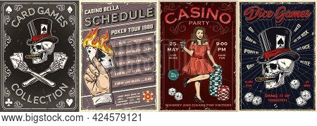 Gambling Vintage Colorful Posters With Male Hand Holding Burning Ace Of Spades Pretty Lady With Cock