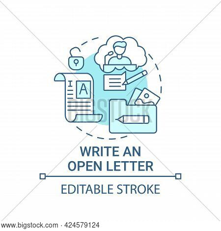 Write Open Letter Concept Icon. Viral Content Method Abstract Idea Thin Line Illustration. Published