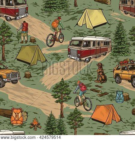Summer Camping Vintage Seamless Pattern With Motorhome Travel Suv Car Tourists Riding Bicycles Dog T