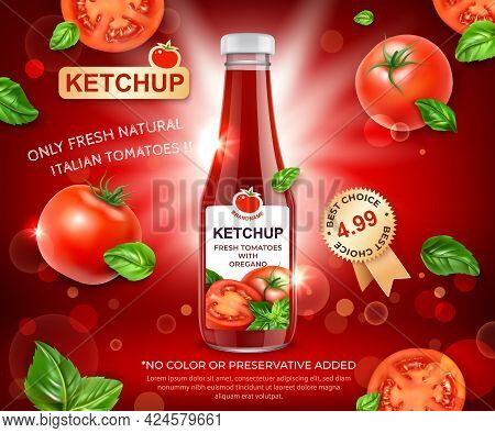 Realistic Detailed 3d Ketchup Fresh Tomatoes With Oregano Ads Banner Concept Poster Card. Vector