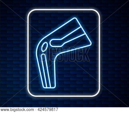 Glowing Neon Line Bone Pain Icon Isolated On Brick Wall Background. Orthopedic Medical. Disease Of T