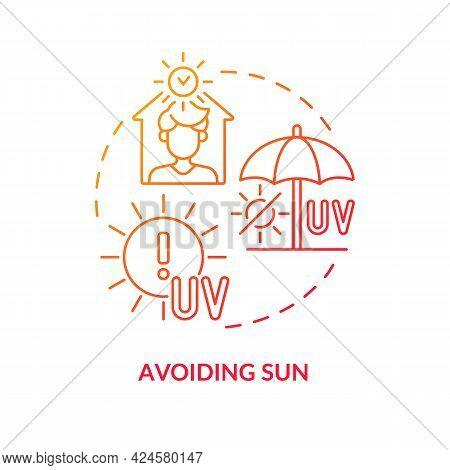 Avoiding Sun Concept Icon. Heat Exhaustion Risk Abstract Idea Thin Line Illustration. Preventing Ski