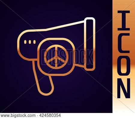 Gold Line Peace Icon Isolated On Black Background. Hippie Symbol Of Peace. Vector