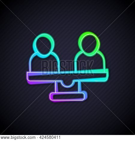 Glowing Neon Line Gender Equality Icon Isolated On Black Background. Equal Pay And Opportunity Busin