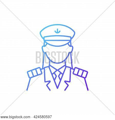 Female Captain Gradient Linear Vector Icon. Organizing Vacation For Passengers. Comfortable Ocean Tr