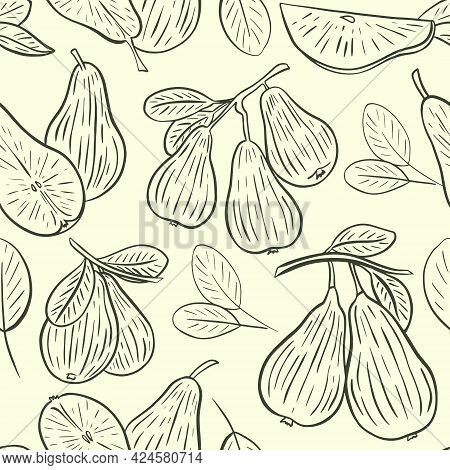 Pear Sketch Seamless Pattern, Vector. Wallpaper Whole Pear, On A Branch, Half And Leaves. Background