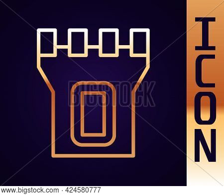 Gold Line Castle Tower Icon Isolated On Black Background. Fortress Sign. Vector