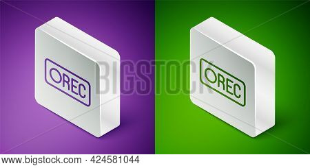 Isometric Line Record Button Icon Isolated On Purple And Green Background. Rec Button. Silver Square