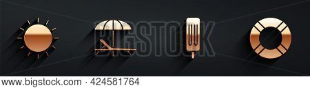 Set Sun, Sunbed And Umbrella, Ice Cream And Lifebuoy Icon With Long Shadow. Vector