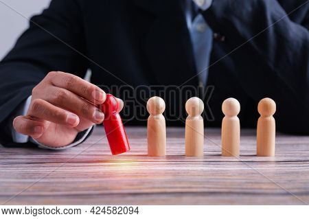 Leadership Business Concept, Leader Teamwork Power And Confidence, Hand Holding Leader To Success Bu