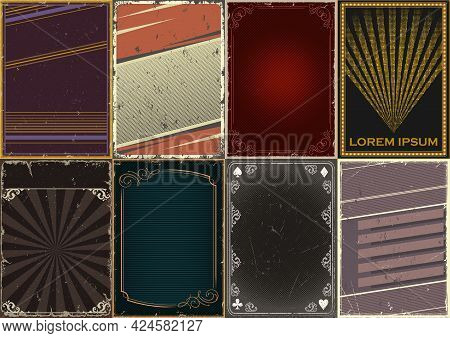 Abstract Vintage Posters Collection With Various Frames Playing Card Suits Symbols Elegant Vignettes