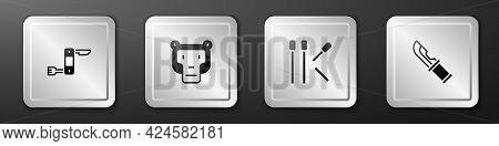 Set Swiss Army Knife, Monkey, Matches And Hunter Icon. Silver Square Button. Vector