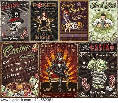 Gambling Vintage Posters With Smiling Man With Casino Chips Skeleton Gambler In Tuxedo Dollar Bills