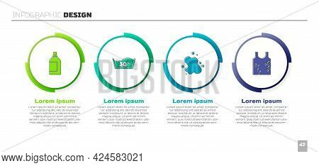 Set Bottle For Cleaning Agent, Temperature Wash, Water Spill And Dirty T-shirt. Business Infographic