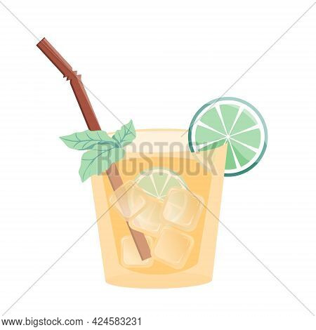 Summer Cold Cocktail With Tube, Ice, Lime And Mint. Refreshing Drink. Colorful Flat Vector Illustrat